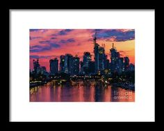 Frankfurt Germany SkylineA stunning sunset horizon in Frankfurt, Germany is reflected in the Main River framed by colorful clouds and skyscrapers poking into the heavenly sky overhead. What a great remembrance of a vacation to this beautiful city. Fine Art Prints, Framed Prints, Canvas Prints, Germany Photography, Colorful Clouds, Frankfurt Germany, Art Sites, Wood Canvas, Photo On Wood