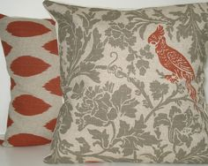 TWO New 18x18 inch Designer Handmade Pillow Cases in green grey floral and orange bird and ikat. $40.00, via Etsy.
