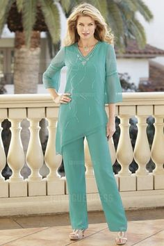 Pant Suits V-neck Ankle-length Chiffon Mother of the Bride Dress