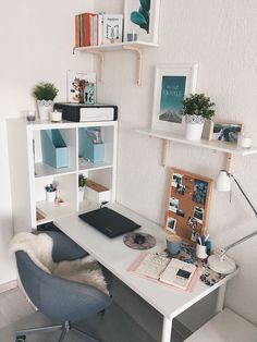 Bright and open office furniture with a white theme and blue accents, . Bright and open office furniture with a white theme and blue accents, # Office equipment Study Room Decor, Room Ideas Bedroom, Office In Bedroom Ideas, Bedroom Desk, Bedroom Inspo, Home Office Design, Home Office Decor, Home Decor, Office Ideas