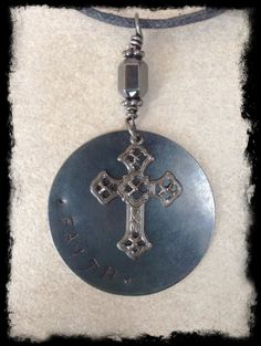 """Men's Black Cord Necklace with Hand Stamped """"FAITH"""" Gunmetal Tag by Stones on String, $46.00"""