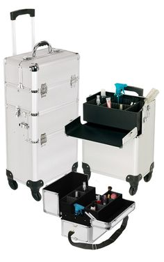 Pro Aluminum Makeup Case Silver 4 Wheeled Spinner, only $169.95  plus free shipping!