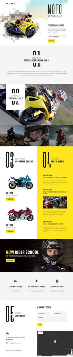 Racing Club Landing Page Template on Behance