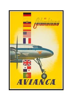 Avianca - El Colombiano Colombia - Vintage Poster (Art Print Available) Vintage Travel Decor, Vintage Travel Posters, Vintage Ads, Vintage Airline, Airline Travel, Air Travel, Travel Ads, Super Constellation, Historic Posters