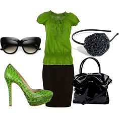 Green & black, Love this!! I soooooooo want these glasses! (and shoes...and shirt....and skirt...and well....)