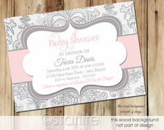 The Pink and Gray Baby Shower Invitations Free looking design