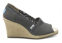 Toms- Ash Calypso Canvas Women's Wedges  Grey or black? I wish it came in a beige with that heel.