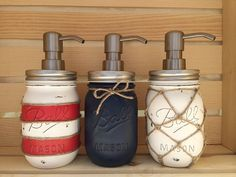 * Please check current Shop Announcement before purchase!! *  These dispensers fit in any nautical or beach setting perfectly! Choose between a red & white or navy & white lighthouse inspired, a fishermans net or a navy blue mason! The white jar has a nautical net made of jute twine knotted around it, the blue jar has a twine bow and the red and white jar, made to match a lighthouse, has 4 pieces of twine each knotted on one side. The jars are sealed with a matte sealant for water-proofing…
