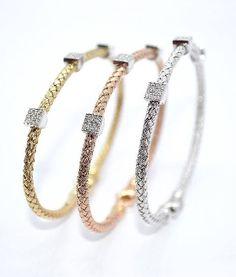 Basket Weave Tri-Color Diamond Bracelets in white, yellow & rose gold. Diamonds 0.27 ct. each.
