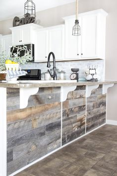A quick and easy tutorial to get a rustic reclaimed look on a kitchen bar using real weathered wood from Stikwood without any nails required. House, Wood Bars, Home, Cozy House, Remodel, Home Remodeling, Home Decor Tips, Reclaimed Wood Bars, Rustic House