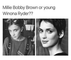 woah they kind of look alike Should I Stay, Stranger Danger, Stranger Things Netflix, Winona Ryder, Shows On Netflix, Millie Bobby Brown, Marvel, Look Alike, Best Shows Ever