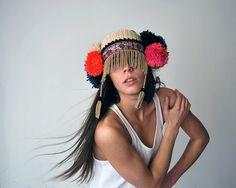 White ethnic UTHA pom pom ear warmerheaddress by UTHAhats on Etsy, $95.00