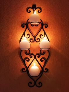 Moroccan Wall Candle Holder candlesticks Acadia - 66cm   Forged   Oriental Candle Holders  