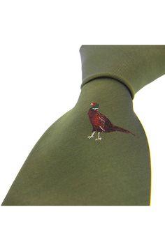 Soprano Single Motif Standing Pheasant On Green Ground Country Silk www.ties-online.com/single-motif-standing-pheasant-on-wine-ground £23.95