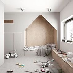 Gone are the days of boring kids rooms. Incorporating built in beds and storage solutions can make for a fun and ultra functional space (especially with the amount of stuff some kids have!). I'd love a room like this for Bear, with a fun bed space (might help keep him in there longer??) and plenty of room to play. Kids bedroom goals!