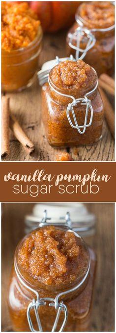 Vanilla Pumpkin Sugar Scrub - Got leftover pumpkin? Make this simple and sweet DIY beauty scrub. It feels great on your skin for exfoliating.