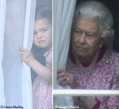 Charlotte and the Queen watching the parade from Buckingham Palace. Trooping the Colour, 6/17/2017
