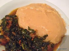 Unripe Plantain Swallow with Fresh Vegetable Soup