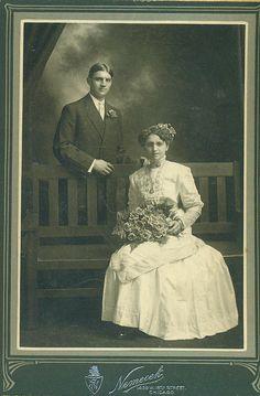 Elegant Bridge Chicago IL White Wedding Gown Dress Large Bouquet Flowers Hair Antique Photo Cabinet Card Portrait Studio Photograph. $9.95, via Etsy.