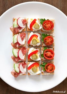 Mini toasts with horseradish cottage cheese, egg, Pâté and Kindziukas - Finger food / Party food