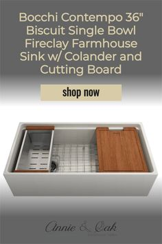 Shop for 36 Inch Biscuit Single Bowl w/ Integrated Work Station Fireclay Farmhouse Sink at www.annieandoak.com. Fireclay, a 100% natural organic and recyclable material used by craftsman for centuries to create timeless appliances have now returned to your kitchen. With its protective bottom grid and distinctive looks, BOCCHI Farmhouse Sinks are truly crafted to match your design and functional desires. Shop for the best kitchen sinks and decor at www.annieandoak.com. Fireclay Farmhouse Sink, Farmhouse Sink Kitchen, Shabby Chic Kitchen, Best Kitchen Sinks, Biscuit Color, Board Shop, Farmhouse Aprons, Design Your Kitchen, Installation Instructions