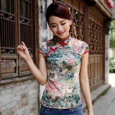 Fascinating Modern Silk Chenogsam Shirt - Pattern A - Chinese Shirts & Blouses - Women