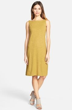 Eileen Fisher Hemp & Organic Cotton Bateau Neck Knee Length Dress (Regular & Petite) | Nordstrom