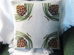 Craftsman style Pine Cones Hand Embroidered Pillow Front View.  All linen, 16x16, Hand Embroidered Arts and Crafts Pillow. Worked from the Arts and Crafts Period Textiles Kit by Dianne Ayers.