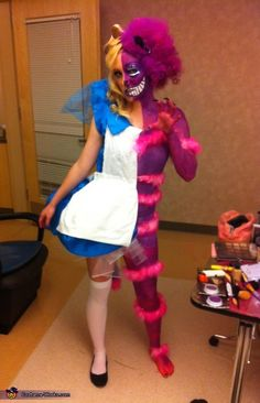 Alice In Wonderland / Cheshire Cat Costume... instead of paint use some sweats and wrap the pink boa around them