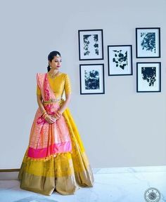 Want to look traditional but classy? Find latest Banarasi Lehenga Designs for weddings. Best Banarasi Lehengas of 2020 you cannot afford to miss. Half Saree Lehenga, Banarasi Lehenga, Lehnga Dress, Bridal Lehenga, Sari, Saree Blouse, Anarkali, Silk Sarees, Half Saree Designs