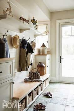 neutral colors, natural elements, organized  Dislike, If I had a pink kids coat hanging there it would not look so good
