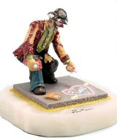 Emmett Kelly Jr For You Figurine. Features Emmett Kelly using chalk to write a special message on the sidewalk. Each Emmett Kelly Jr figurine is made of pewter, hand painted, comes mounted on an onyx base and is signed by the artist Ron Lee. All of the Ron Lee Emmett Kelly Jr sculptures are Made in the USA. $149.99 Emmett Kelly Clown, Pt Barnum, Clowning Around, 60th Birthday, Clowns, Tattoo Inspiration, Tatoos, Pewter, Jr