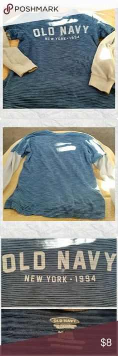 Boy's Old Navy Logo Striped Shirt Boy's Old Navy long sleeved, layered look' crew.neck.shirt, blue stripe/white sleeves, size 14/16 very good pre-owned condition, smoke-free home. Old Navy Shirts & Tops
