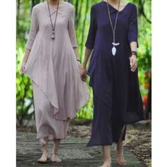 Womens Designed Leaf Hem Half Sleeve Linen Dress
