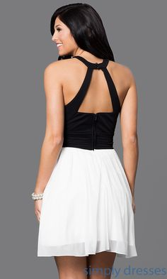 915492a6fa Shop short black and ivory homecoming dresses at Simply Dresses. Beaded-collar  semi-