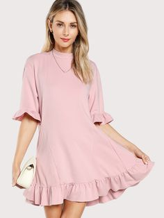 2af94f97a6 Ruffle Cuff And Hem Tee Dress -SheIn(Sheinside) Embellished Skirt, Half  Sleeve