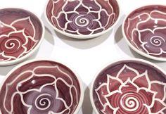 Set of 5 Burgundy Porcelain Lotus Bowls