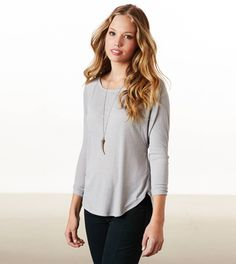 AE Easy Dolman T-Shirt with a long simple necklace like that...