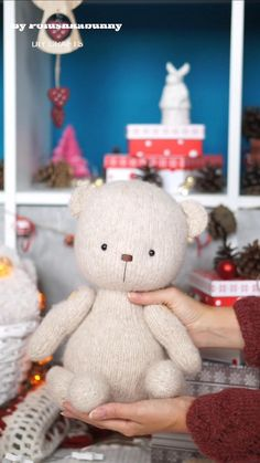 Knitted Teddy Bear Pattern #knittign #pattern #teddy #bear #animal #craft #amigurumi #doll #toy #diy Teddy Bear Knitting Pattern, Knitted Teddy Bear, Teddy Bear Toys, Baby Knitting Patterns, Stuffed Animal Patterns, Diy Stuffed Animals, Toy Craft, Toy Diy, Plush Pattern