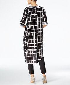 Cable & Gauge Plaid Tunic Shirt   macys.com 50 Fashion, Hijab Fashion, Fashion Outfits, Maxi Shirts, Tunic Shirt, Capsule Outfits, Chic Outfits, Quoi Porter, Dress Neck Designs