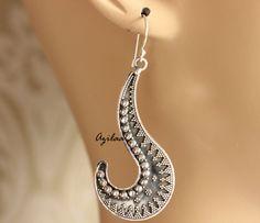 Oxidized sterling silver artisan earrings