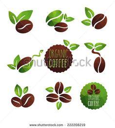 Organic coffee - Buy this stock vector and explore similar vectors at Adobe Stock Coffee Bean Logo, Coffee Bean Art, Coffee Cup Art, Coffee Label, Coffee Shop Logo, Coffee Stock, Coffee Plant, Coffee Branding, Cafe Logos