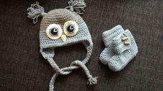 Crochet owl hat and babyboots :) Crochet Owl Hat, Winter Hats, Beanie, Beanies, Beret