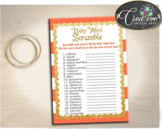 WORD SCRAMBLE baby shower game with glitter gold and orange stripes theme printable, digital files jpg pdf, instant download - bs003 #babyshowergames #babyshowerdecorations