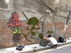 A street artist called GREEN is reinventing graffiti by substituting spray paint with moss!   This creative approach adds character to buildings walls and supplies some much needed urban greenery. #LQC #StreetAsPlaces #Placemaking #StreetArt