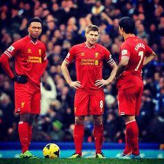 Suarez, Steve Gerrard, and Sturridge Liverpool