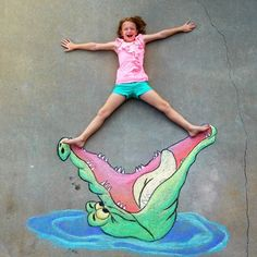 This Peter Pan crocodile chalk art is amazing!