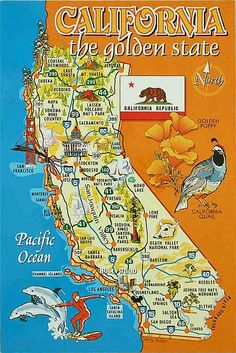 Map of California Now my friends can see where I'm from. See how far that is from San Francisco? California Dreamin', Northern California, California Camping, Fullerton California, Stockton California, California History, Pier Santa Monica, Santa Barbara, Places To Travel