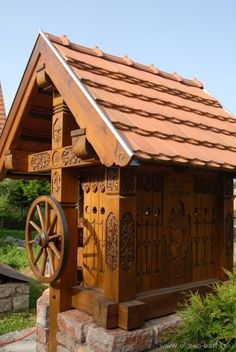Hungarian Covered well with draw-wheel, Hungary / Magyar kerekes kút Ponds Backyard, Central Europe, Construction, Sanya, Homeland, Wood Carving, Cool Places To Visit, Festivals, History