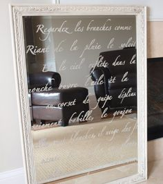 DIY: french script stenciled mirror